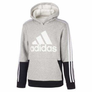 Adidas Youth Fleece Hoodie Gray Black M (10-12)